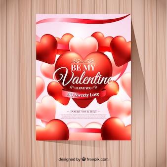 Modèle de carte de jour de la saint-valentin réaliste