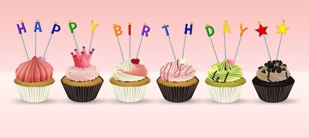 Modèle de carte de joyeux anniversaire avec des petits gâteaux