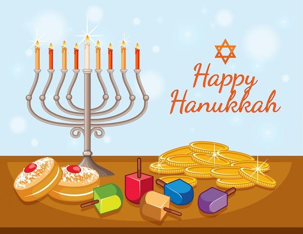 Modèle de carte joyeux hanukkah avec des bougies et des pièces de monnaie