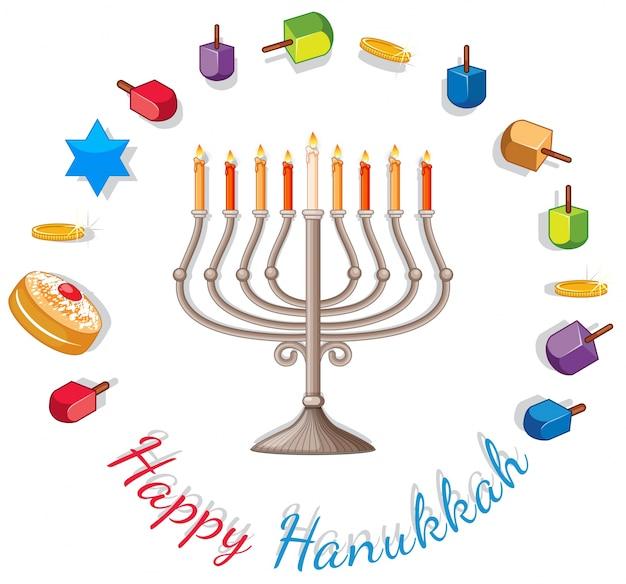 Modèle de carte joyeux hanukkah avec des lumières et des décorations