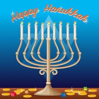 Modèle de carte joyeux hanukkah avec des lumières et des pièces de monnaie
