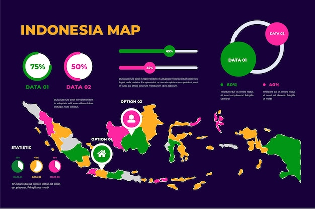 Modèle de carte linéaire de l'indonésie