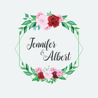 Modèle de carte magnifique mariage aquarelle floral