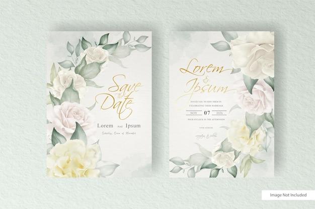 Modèle de carte de mariage aquarelle arrangement floral sertie de décoration florale et de feuilles