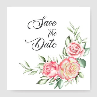 Modèle de carte de mariage aquarelle bouquet floral design mariage