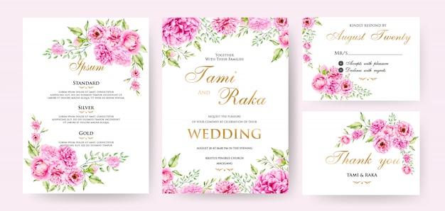 Modèle de carte de mariage aquarelle floral et feuilles