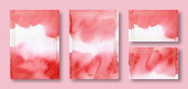 Modèle de carte de mariage aquarelle rouge élégant avec cadre doré
