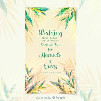 Modèle de carte de mariage aquarelle