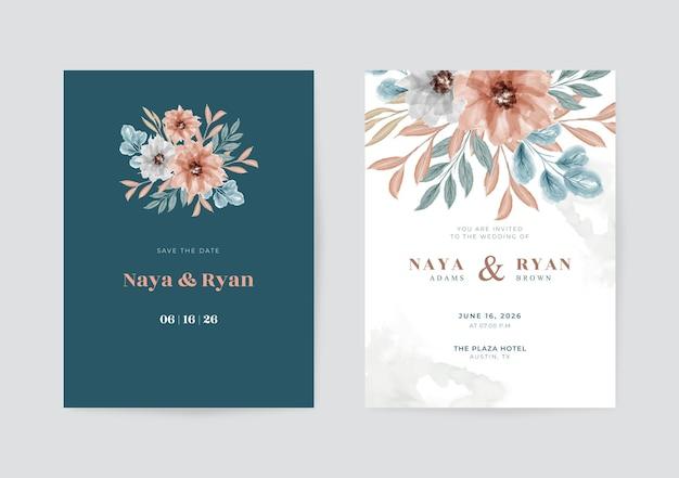 Modèle de carte de mariage beau et élégant