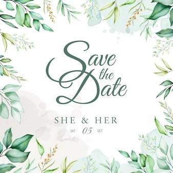 Modèle de carte de mariage belle aquarelle verte feuilles