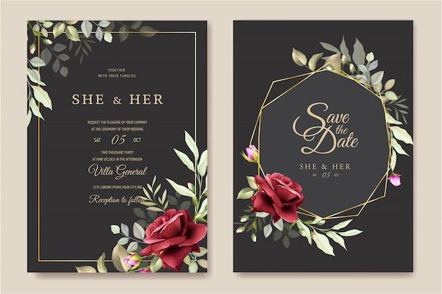 Modèle de carte de mariage belle couronne florale
