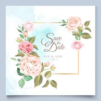 Modèle de carte de mariage avec une belle couronne florale