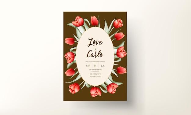 Modèle de carte de mariage belle fleur tulipe rouge