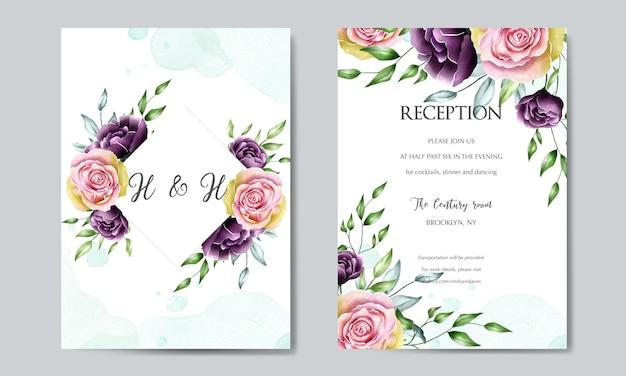 Modèle de carte de mariage belle fleur