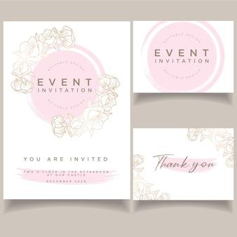Modèle de carte de mariage belle invitation événement