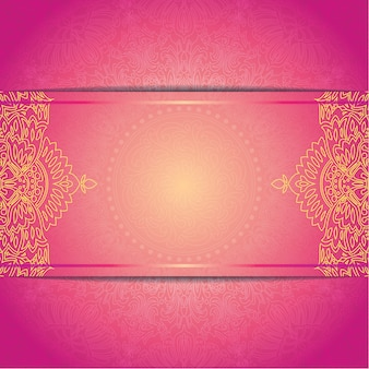 Modèle de carte de mariage belle invitation avec ornement rond floral patern