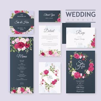 Modèle de carte de mariage avec cadre de belle fleur et feuilles