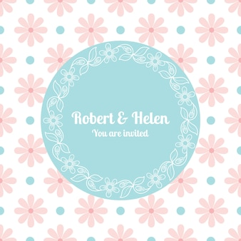 Modèle de carte de mariage avec cadre floral