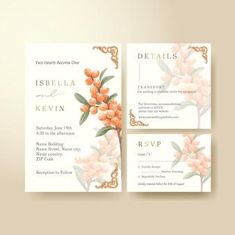 Modèle de carte de mariage avec concept de baies cottagecore, style aquarelle