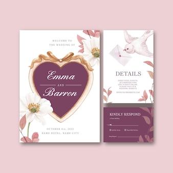 Modèle de carte de mariage avec concept de fleurs cottagecore, style aquarelle