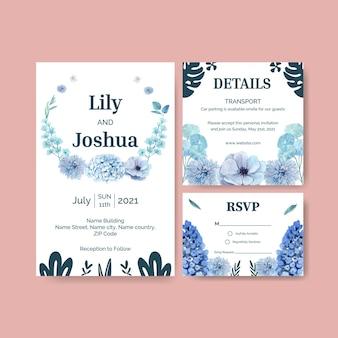 Modèle de carte de mariage avec concept paisible de fleur bleue, style aquarelle