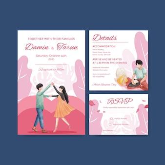 Modèle de carte de mariage avec conception de concept d'amour paradis pour illustration aquarelle invitation