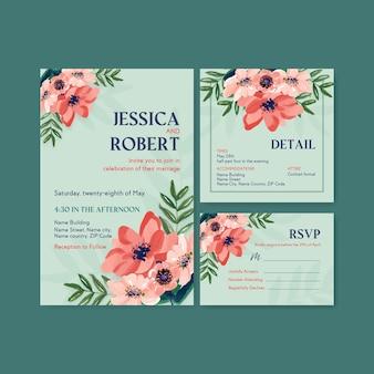 Modèle de carte de mariage avec design de concept de fleurs de brosse pour invitation et épouser aquarelle