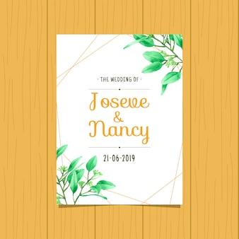 Modèle de carte de mariage dessiné main feuille verte