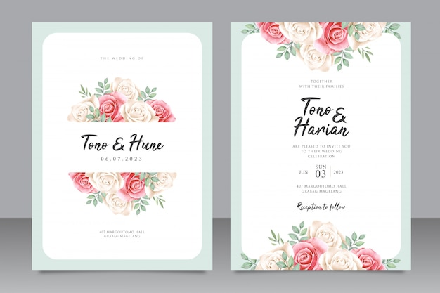 Modèle de carte de mariage élégant avec beau cadre floral