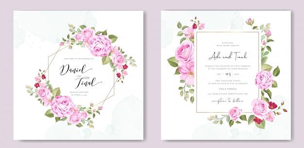 Modèle de carte de mariage élégant avec couronne de belles roses