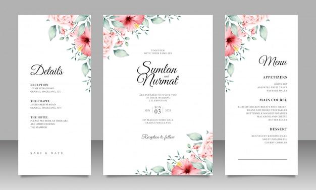 Modèle de carte de mariage élégant avec décoration florale minimaliste