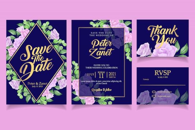Modèle de carte de mariage élégant invitation aquarelle floral laisse