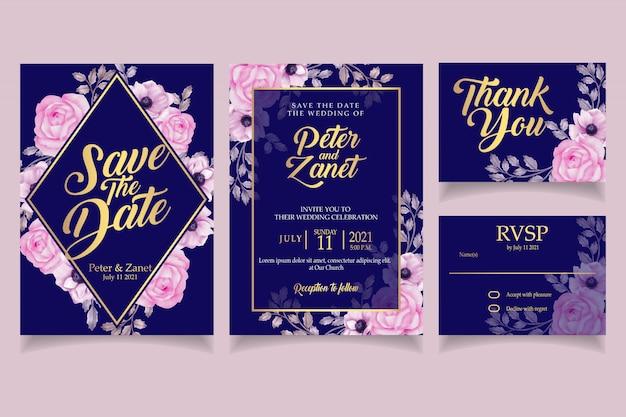 Modèle de carte de mariage élégant invitation aquarelle floral rose