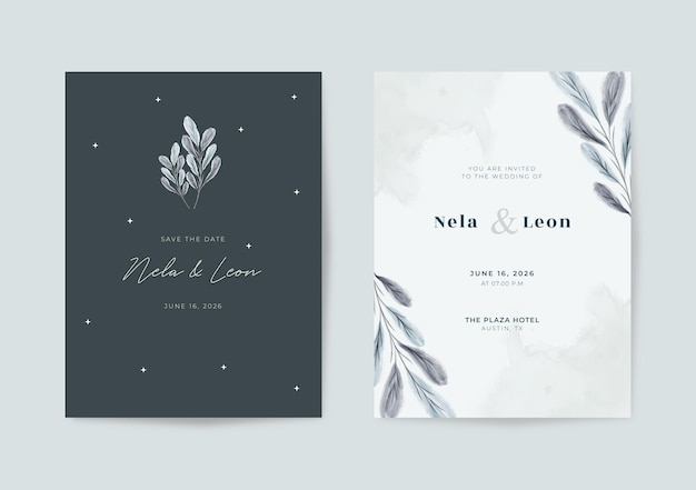 Modèle de carte de mariage élégant en noir et blanc