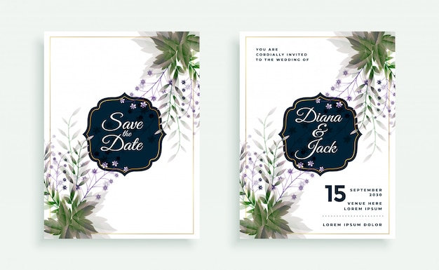 Modèle de carte de mariage de feuilles vertes et de fleurs