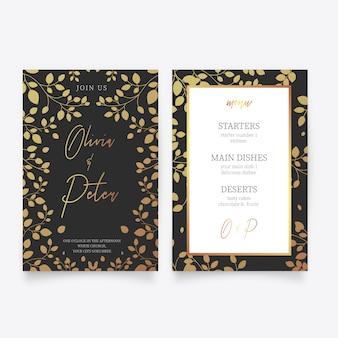 Modèle de carte de mariage avec des fleurs dorées