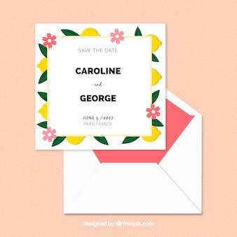 Modèle de carte de mariage avec des fleurs plates