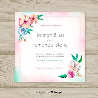 Modèle de carte de mariage floral aquarelle