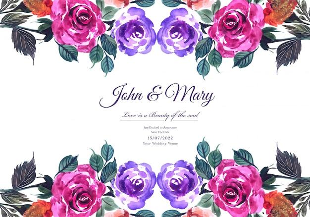 Modèle de carte de mariage floral belle main dessiner