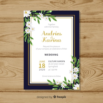Modèle de carte de mariage floral avec cadre doré