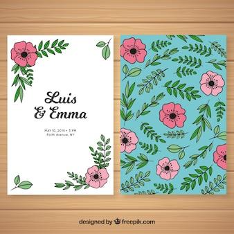 Modèle de carte de mariage floral dessiné main