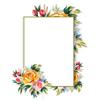 Modèle de carte de mariage floral dessiner belle main