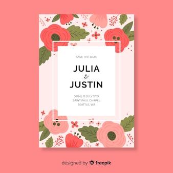 Modèle de carte de mariage floral plat