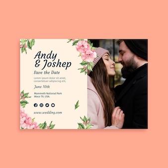Modèle de carte de mariage floral
