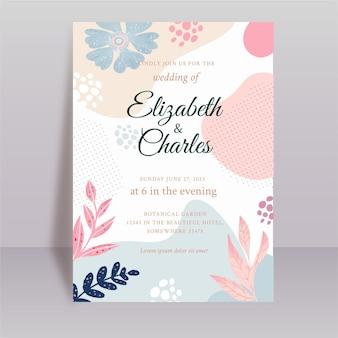 Modèle de carte de mariage fluide floral