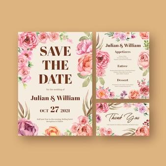 Modèle de carte de mariage avec illustration aquarelle de conception de concept de floraison d'amour
