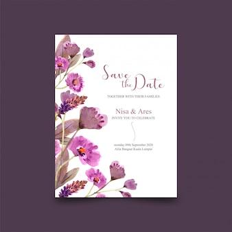 Modèle de carte de mariage magnifique cadre floral