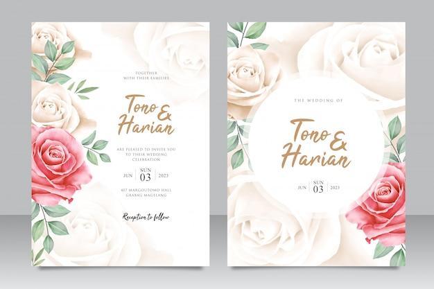 Modèle de carte de mariage magnifique avec des fleurs de belles roses