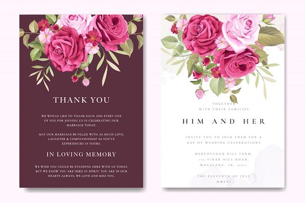 Modèle de carte de mariage magnifique avec des roses marron colorés