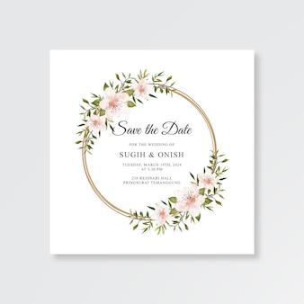 Modèle de carte de mariage minimaliste avec aquarelle floral